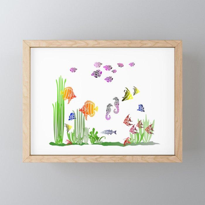 Aquarium colorful Fish Framed Mini Art Print