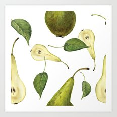 Watercolor seamless pattern with pears Conference and leaves. Botanical isolated illustration.  Art Print