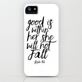 Psalm 46:5 God Is Within Her She Will Not Fall, Nursery Girls,Gift For Her,Bible verse,Scripture Art iPhone Case