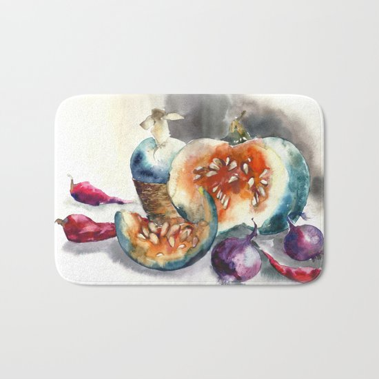 Watercolor harvest with vegetables, Thanksgiving Day Bath Mat