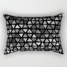 Triangle Watercolor Seamless repeating Pattern - Black and White Rectangular Pillow