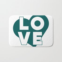 LOVE & heart // dark teal Bath Mat