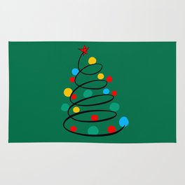 Christmas Tree Minimal Design Art Red Blue Green Rug