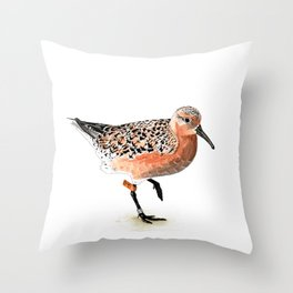Red Knot B95 Throw Pillow