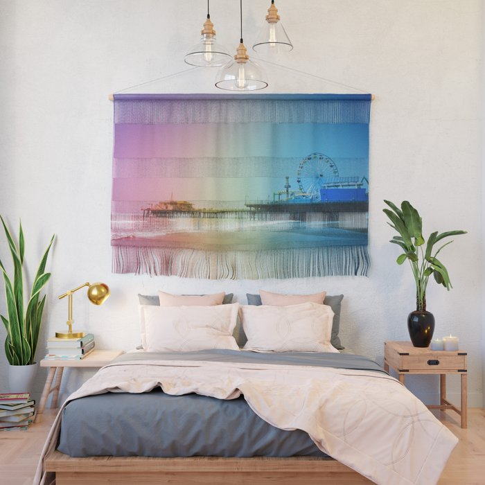 Santa Monica Pier Rainbow Colors Wall Hanging