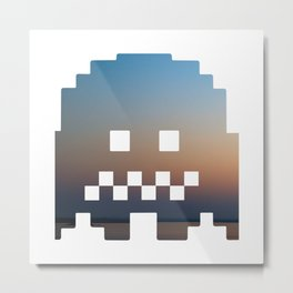 Pacman robot with clouds Metal Print