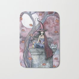 October Winds Fantasy Witch and Cats Halloween Art Bath Mat