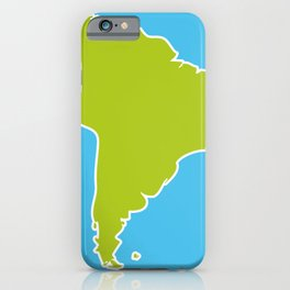 South America map blue ocean and green continent. Vector illustration iPhone Case