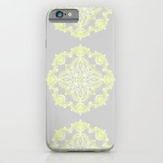 Pale Lemon Yellow Lace Mandala on Grey iPhone 6 Slim Case