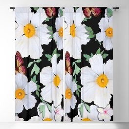 Matilija Poppies and Plumeria Blackout Curtain