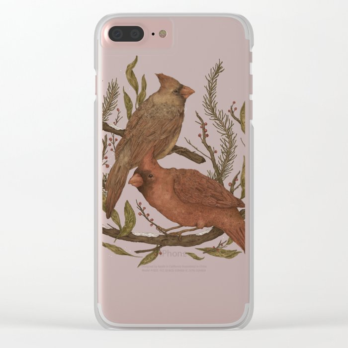 Wintery Cardinals Clear iPhone Case
