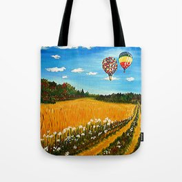 Hot Air Balloons over Wheat Field,  Up Up and Away, Landscape painting Tote Bag