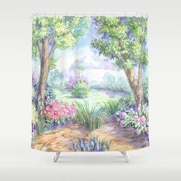 Весенний пейзаж Shower Curtain