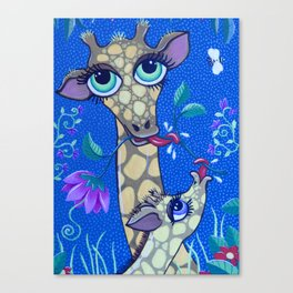 Big eye Giraffe in the Jungle Canvas Print