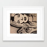 kate moss Framed Art Prints featuring Kate Moss by Brianna Benson