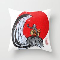 aang Throw Pillows featuring Aang in the Avatar State by Tom Ledin
