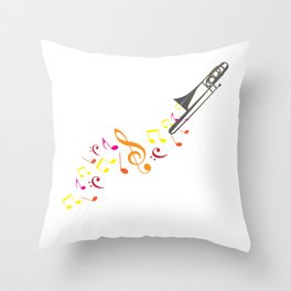 Trombone And Musical Notes Throw Pillow