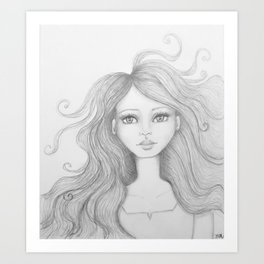 Girl with crazy hair Art Print