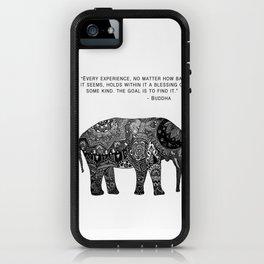 Buddha Quote with Henna Elephant iPhone Case