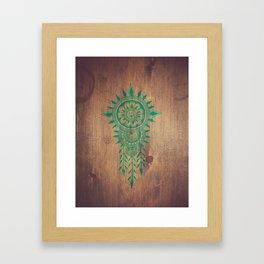 emerald green rustic mandala Framed Art Print