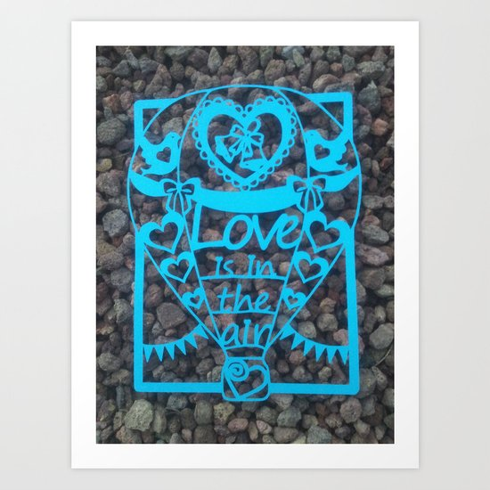 "Paper cut- ""Love is in the air"" wall art Art Print"