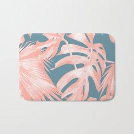 Island Love Millennial Pink on Teal Blue Bath Mat