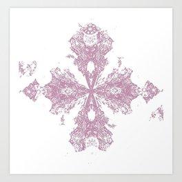 Pink Cross Lace Stamp Art Print