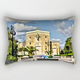 digital painting oil on canvas - Mosta Dome Cathedral St. Mary church The Parish Church of Assumptio Rectangular Pillow