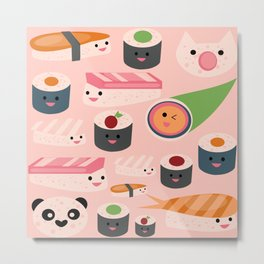 Kawaii sushi light pink Metal Print