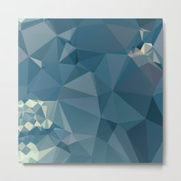 Cadet Blue Abstract Low Polygon Background Metal Print