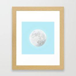WHITE MOON + BLUE SKY Framed Art Print