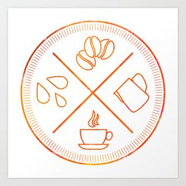 Four Elements of Cappuccino Pictogram Art Print