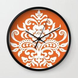 Damask on Peach Wall Clock