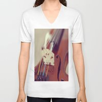 antique V-neck T-shirts featuring Antique Violin by KimberosePhotography