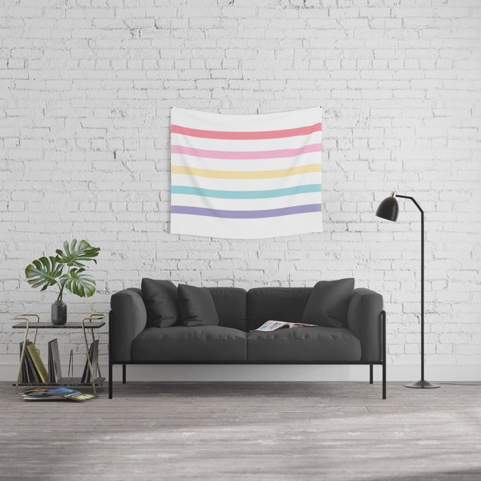 Rainbow color lines Wall Tapestry