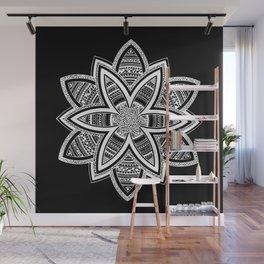 wholeness white mandala on black Wall Mural