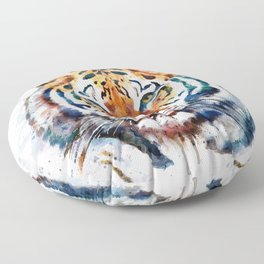 Tiger Head watercolor Floor Pillow