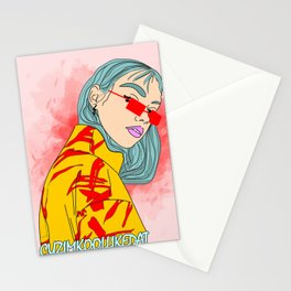 CUZ IM KOOL LIKE DAT - Asian Female with Blue Hair Digital Drawing Stationery Cards