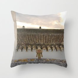 Danbo on rooftops  Throw Pillow