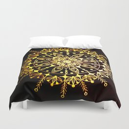 Gold Metallic Mandala on Black Background #2 Duvet Cover