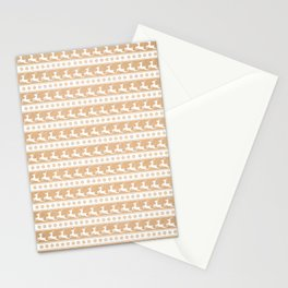 Gold And White Christmas Reindeer Print - Scandinavian / Nordic / Stars / Snowflakes / Xmas Pattern Stationery Cards