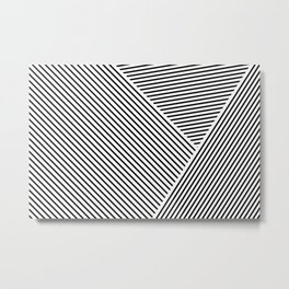 Black and White Lines Hatching Pattern Metal Print