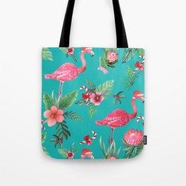 Santa Flamingo Christmas, Holiday Tropical Watercolor Tote Bag