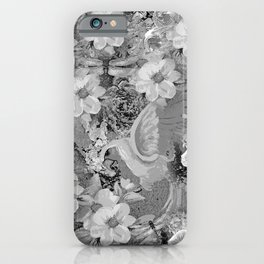 PARROTS MAGNOLIAS ROSES AND HYDRANGEAS TOILE PATTERN IN GRAY AND WHITE iPhone Case