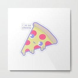 Cute cheesy pizza Metal Print