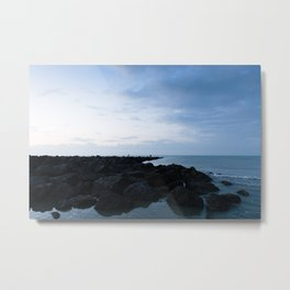Seaside - Blue hour silhouette Water & Rocks Metal Print