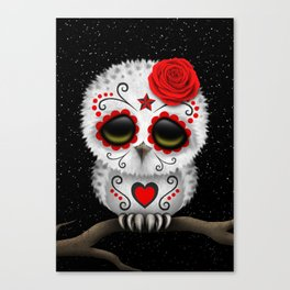Adorable Red Day of the Dead Sugar Skull Owl Canvas Print