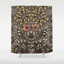 Tiger and flowers Shower Curtain