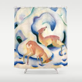 "Franz Marc ""Deer in the Snow"" Shower Curtain"