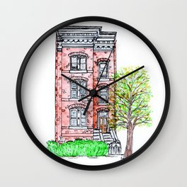 DC Row House No. 3 II Capitol Hill Wall Clock